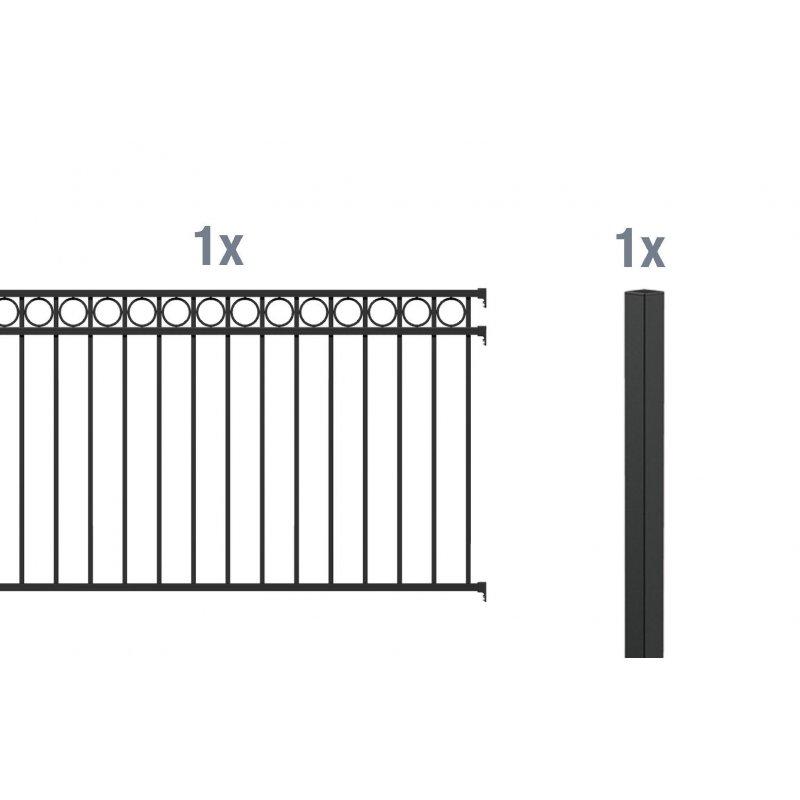 2 meter anbau set f r aluminium zaun circle 247 00. Black Bedroom Furniture Sets. Home Design Ideas