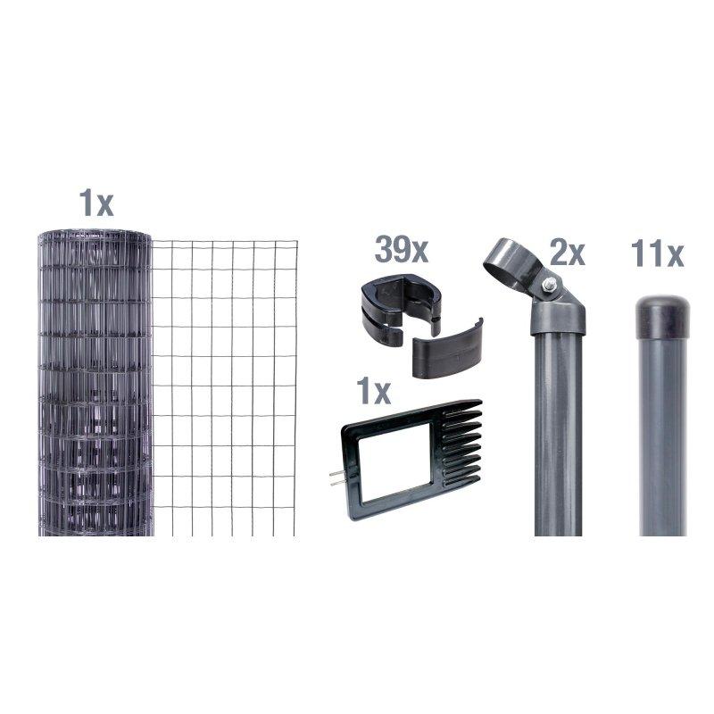 fix clip pro zaunsystem zum einbetonieren 100cm 25m anthrazit metalli. Black Bedroom Furniture Sets. Home Design Ideas