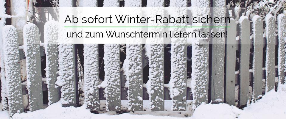 Winter--Rabatt: 3% Rabatt - schon ab einem Bestellwert von   500,- Euro.
