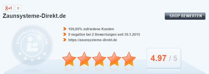 Zaunsysteme-direkt.de erzielt top Bewertung bei Shopauskunft.de